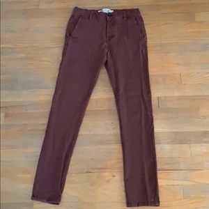 TOPMAN men's stretch skinny burgundy pants size 28